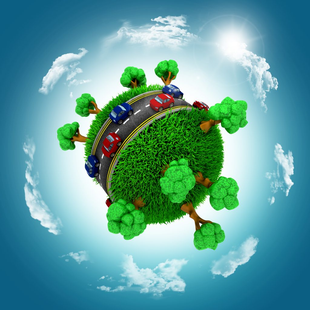 3D render of grassy globe with cars and trees against a blue cloudy sky